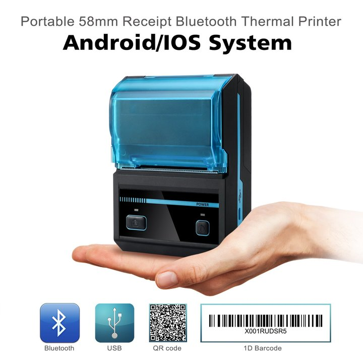 Android IOS thermal printer 58mm bluetooth&usb interfaceBluetooth Printer with Rechargeable Battery Black