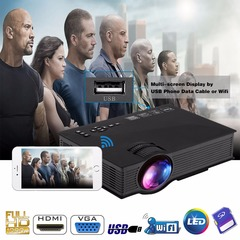 New product UC46  Portable Mini Projector Full HD 1080P WIFI 1200 Lumen LED LCD Projector black 800x480 1200 Lumen