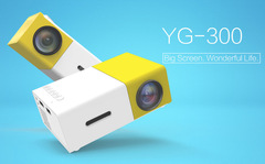 Newest Mini YG300 LCD Projector  320 x 240 Pixels 3.5mm Audio/HDMI Media Proyector Yellow 1080p