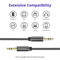 Tronsmart S3C01 gold-plated aux audio line car with 3.5mm double-headed mobile phone black