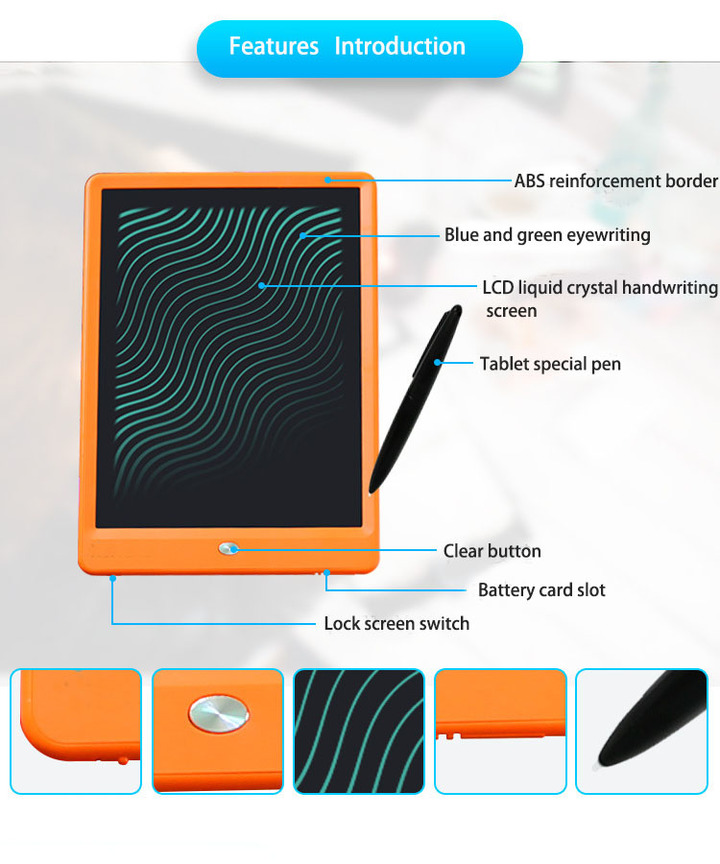 High-bright thick pen 10 inch handwriting board Children's drawing board smart electronic LCD orange