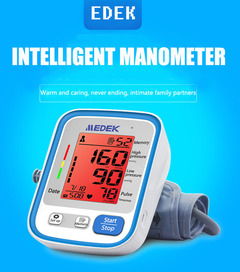 Home arm sphygmomanometer old voice large screen automatic sphygmomanometer one button operation white blue