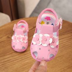 Baby girl sandals called shoes soft bottom non-slip toddler shoes 0-2 years old pink 16#(inner length 11.5cm)