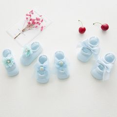3 pcs lace bow baby pure cotton pierced hole ankle sock candy color summer room socks blue s (0-1 Y)non-slipping sole