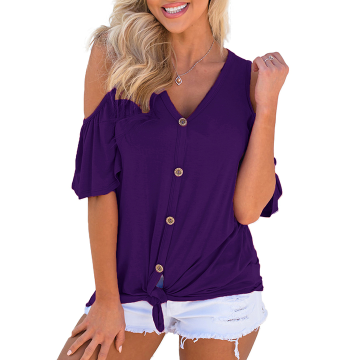 1db8f82e2e0 AFANTI 2019 Amazon Aliexpress hot sale off-shoulder V-neck button-down  looped