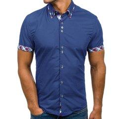Mens Blouse,Summer Double Collar Slim Patchwork Short Sleeved T-Shirt Tops Polo Shirt Men Short fit blue xxl polyester