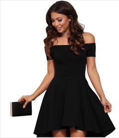 Womens Off The Shoulder Short Sleeve High Low Cocktail Skater Dress Mini Party Dresses xxl black