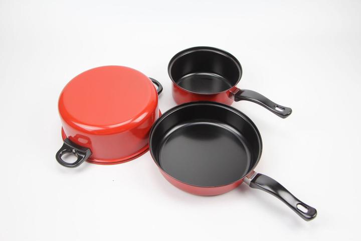 3Pcs/Set High Quality Cooking Pots Cookware Set Non-Stick + 3Pcs/Set Truners For Kitchen Red 3Pcs