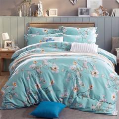 4Pcs Bedding Set (1 Duvet cover+1 Bed sheet+2 Pillow covers) Design color as picture Blue 2.0m (6.6 ft) bed