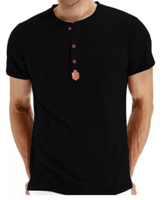 Men's Casual Slim Fit Long Sleeve Henley T-Shirts Cotton Shirts black xxl polyester