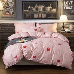 4Pcs Bedding Set(1 Duvet cover+1 Bed sheet+2 Pillow covers) Super Wash Padding Cotton Elasticity d-color as picture 2.0m-bed