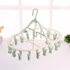 Foldable Hanger Hook with Clips Airer Drying Rack Clothes Rack For Underwear Socks Clothes towel green