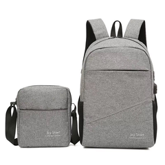 2pcs High Quality Casual Men Women Backpack Business Working Daypack Laptop Notebook Brand gray one size