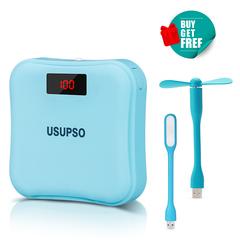 USUPSO Real 7500mAH Digital Display LED Light Flashlight 5V2A Fast Charge Powerbank Mini Power Bank Blue 7500