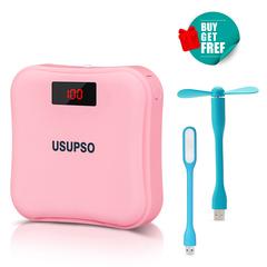 USUPSO Real 7500mAH Digital Display LED Light Flashlight 5V2A Fast Charge Powerbank Mini Power Bank Pink 7500