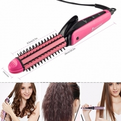 Multifunctional 3 in 1 hair sticks corn clip hair straightener hair comb roll Corn Waver pink one size