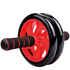 Fitness Wheel Double Wheels Abdominal Waist Workout Exercise Gym Roller Black and red Best