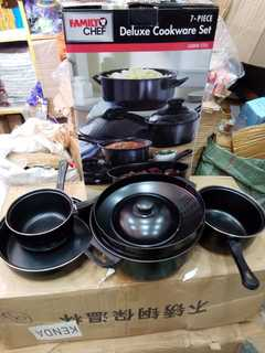 7 pcs cookware set black normal