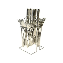24 pieces cutlery set with stainless steel with a stand silver normal