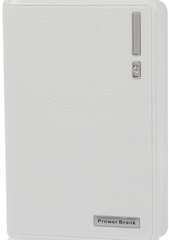 Smart 10,400 mAh White Portable Power Bank – two power outlets