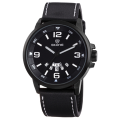 Original Classy Outstanding Skone Model 9345AG Leather Strapped Men Watches black 5