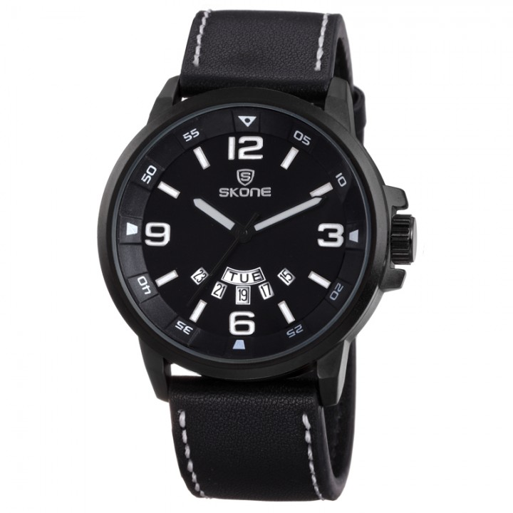 Original Classy Outstanding Skone Model 9345AG Leather Strapped Men Watches