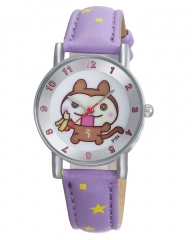 Purple Leather Kids Watch With White Dial