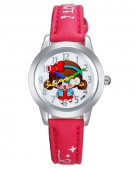 Red Leather Kids Watch With White Dial