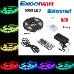 Excelvan 16.4ft 5M Waterproof Flexible Strip SMD5050 300LEDs Color Changing LED Light Strip Kit as the picture 5m 4W~18W