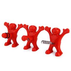 Happy Man Novelty Corkscrew Bottle Stopper Bottle Opener Red One Size