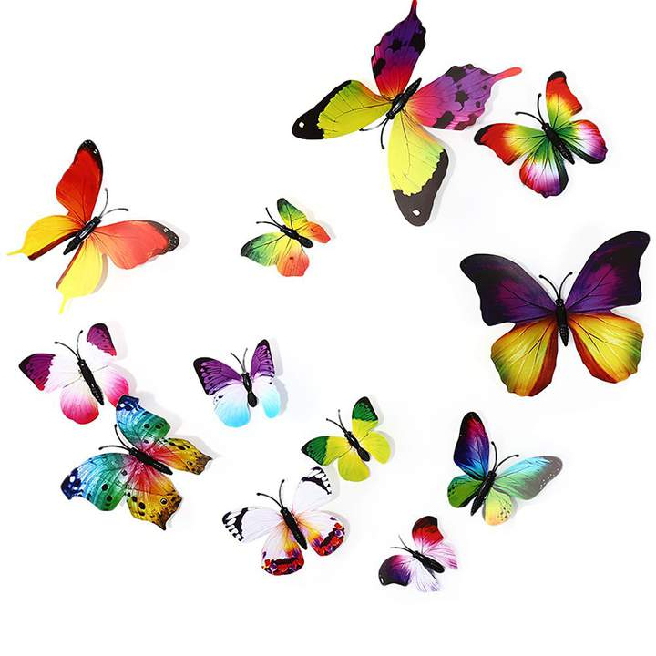 12pcs 3D Wall Stickers Butterfly Fridge Magnet Room Decoration as the picture One Size