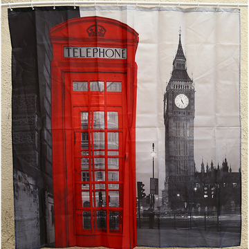 Creative London Big Ben Pattern Shower Curtain Polyester Waterproof Bath Decor as the picture One Size