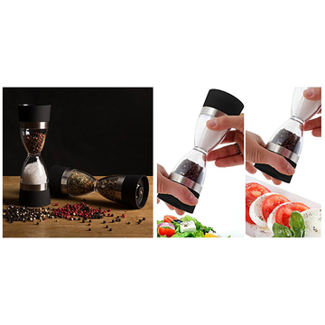 Hourglass shape Dual salt pepper Mill Spice Grinder Black One Size