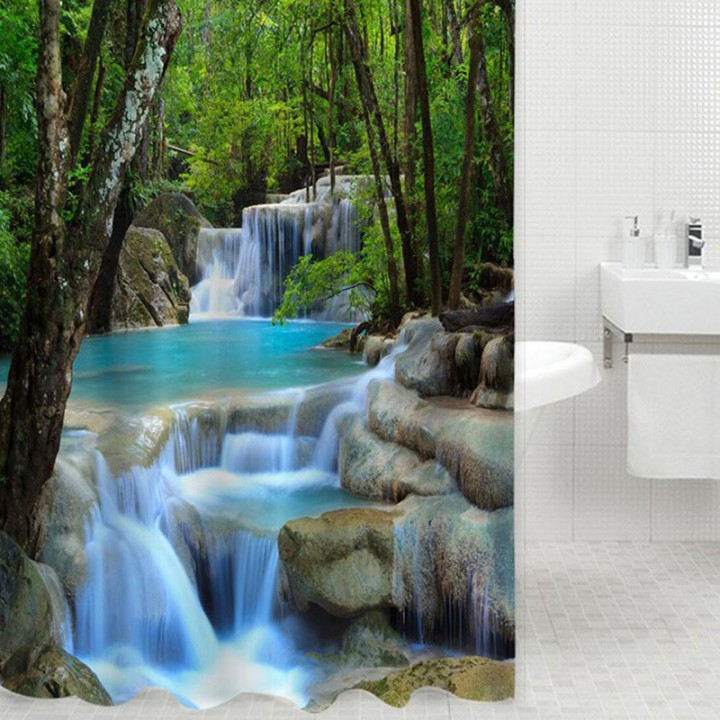 3D Waterfalls Nature Scenery Shower Curtain Water Resistant Polyester Bathroom Gadget Green One Size