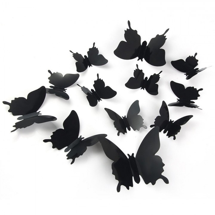 DIY 3D Butterfly Wall Stickers Mirror Art Decal PVC Paper for Home Showcase - 12Pcs Black One Size