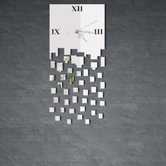 JM-Z039 Mirror Like DIY Quartet Seck 3D Wall Clock Analog for Home Office Silver One Size