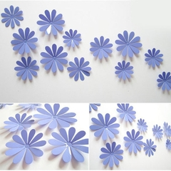 DIY 3D Flowers Wall Sticker Mirror Art Decal PVC Paper for Home Showcase - 12Pcs Purple One Size