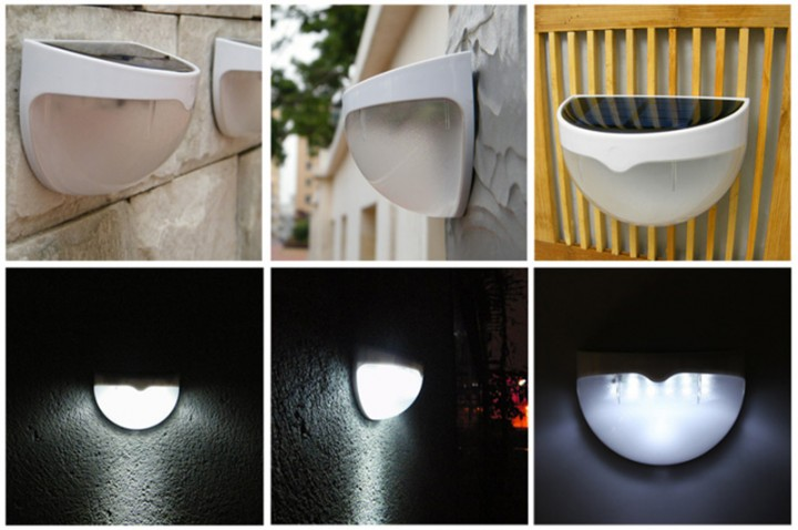 Quarter Ball Shaped 6 LED Solar Power Garden Light Lamp with Light Control Function White 6 LED x 2 LM