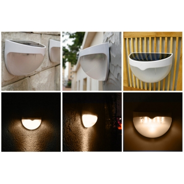 Quarter Ball Shaped 6 LED Solar Power Garden Light Lamp with Light Control Function Warm White 6 LED x 2 LM