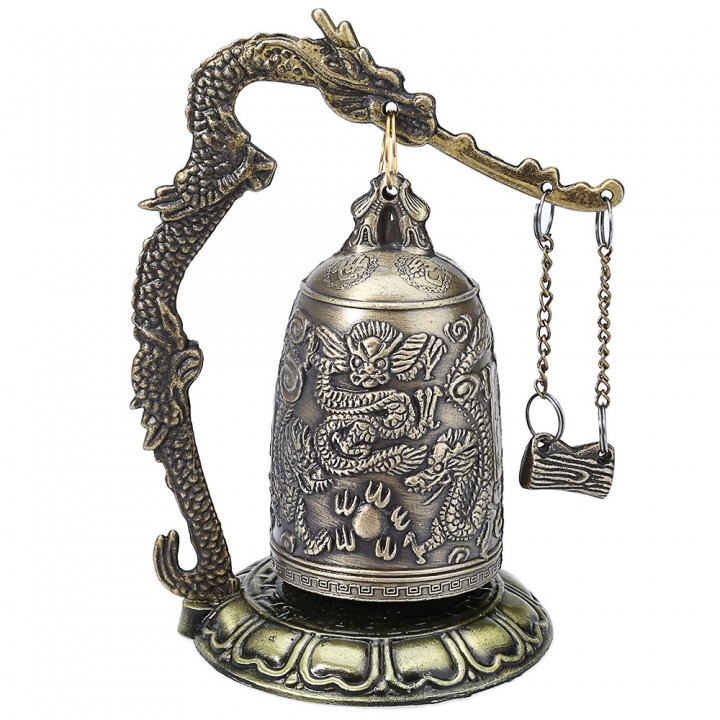 Zinc Alloy Vintage Style Bronze Lock Dragon Carved Buddhist Bell Gold One Size