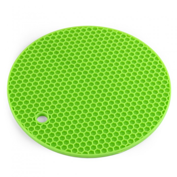 Multipurpose Non-slip Flexible Heat resistant Table Mats Round Honeycomb Silicone Pot Holders Green One Size