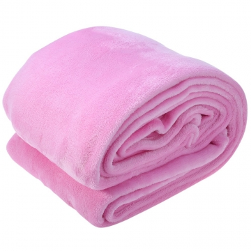 200 x 230cm Solid Color Flannel Blanket for Home Use Pink 200 x 230cm