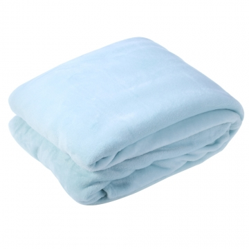 200 x 230cm Solid Color Flannel Blanket for Home Use Light Blue 200 x 230cm
