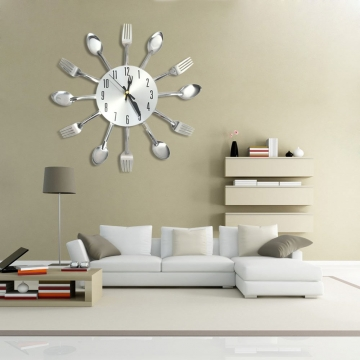 Modern Stainless Steel Knife Fork Wall Clock Analog for Home Office Silver One Size
