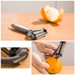 360 Degree Rotary Potato Peeler Vegetable Cutter Gray One Size