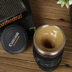 Lens Shaped Self Stirring Coffee Mug Electric Stainless Steel Mixing Cup Black one size