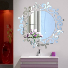 Mirror Removal Wall Sticker for Living Room Bathroom Silver one size