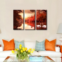 ART Swan lake Printed on Canvas Stretched Paintings 3 panels  Ready to Hang as the picture one size