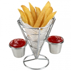 French Fry Holder with Double Sauce Stand Cone Fries Holder Holds  Popcorn Vegetables Fruit and Other Appetizers Silver one size