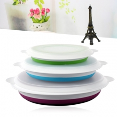3PCS SUMSHUN Collapsible Sealed Storage Bowls for Traveling Colormix one size
